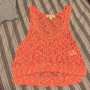 Orange knit crop top